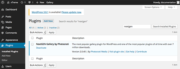 The NextGen plugin installed in WordPress