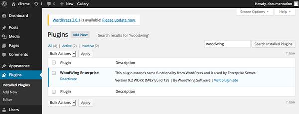 The WoodWingplugin installed in WordPress
