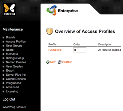 The Overview of Access Profiles page