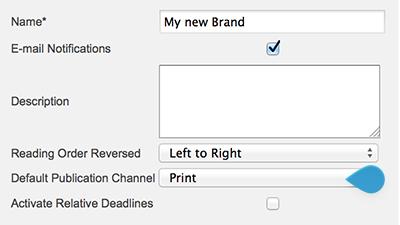 The Default Publication Channel list