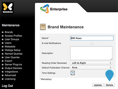 The Delete button on the Brand Maintenance page