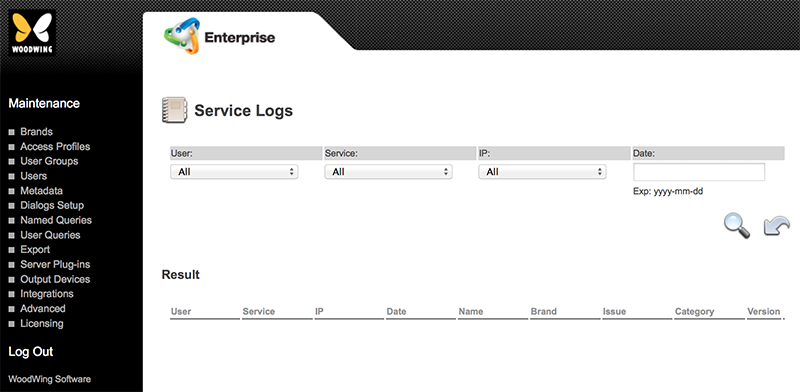 The Service Logs page