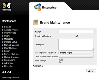 The Brand Maintenance page