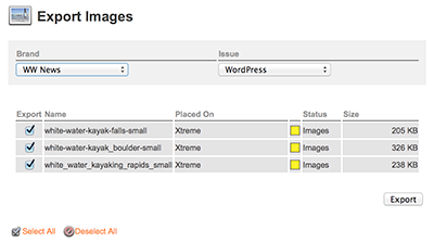 The export page for images