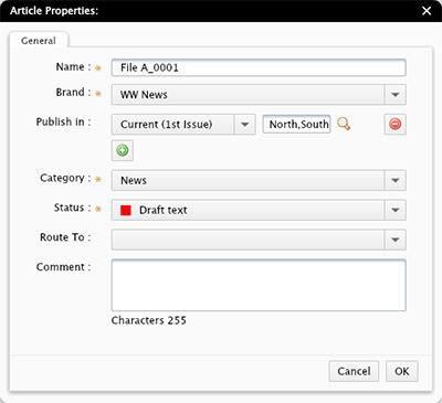 The Properties dialog box in Content Station