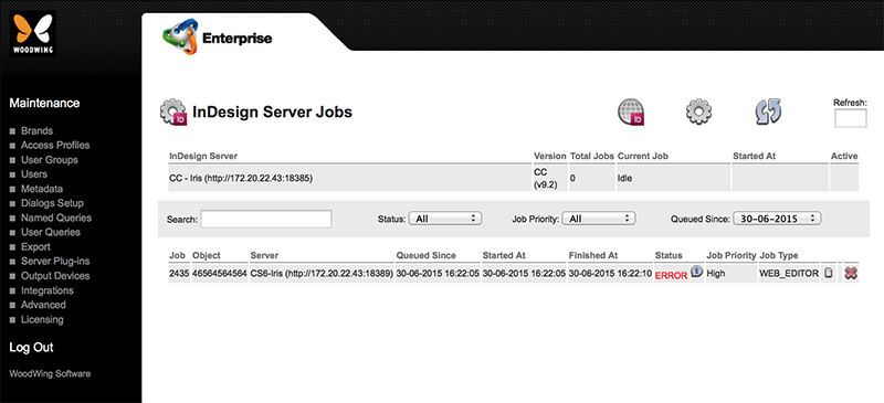 The InDesign Server Jobs Maintenance page