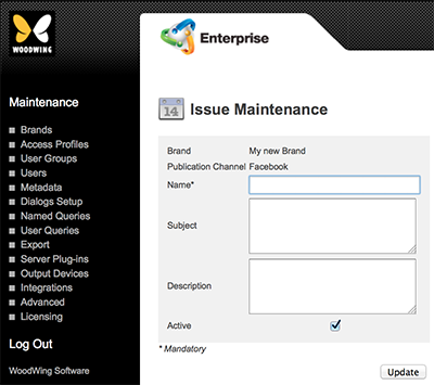 The Issue Maintenance page for Facebook