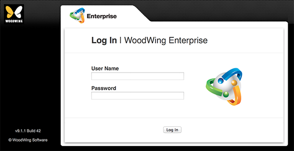 The Enterprise Server Log In screen