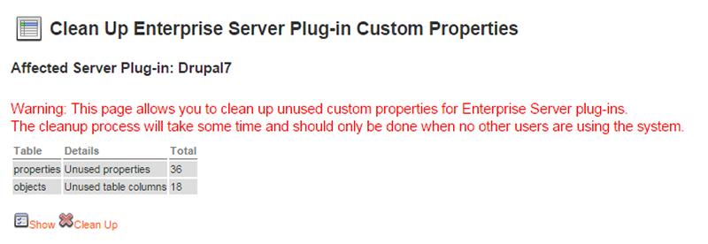 The Clean Up Enterprise Server Plug-in Custom Properties page