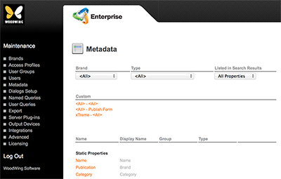 The Metadata Maintenance page