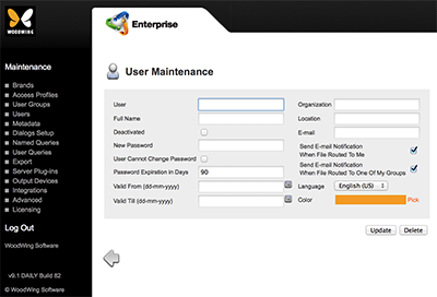 The User Maintenance page