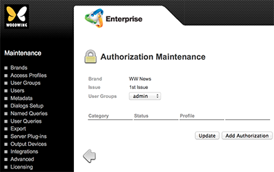 The User Authorizations page