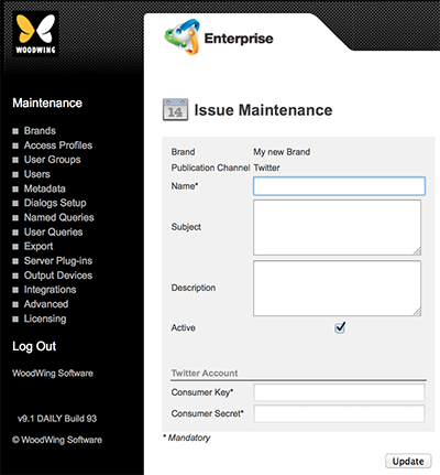 The Issue Maintenance page for Twitter