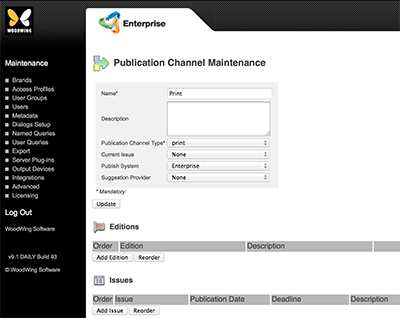 The Editions and Issues section on the Publication Channel page