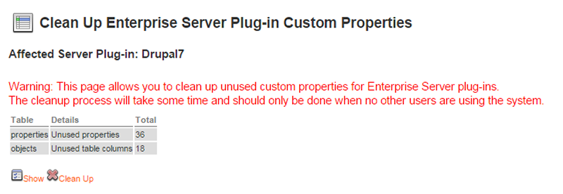 The Clean Up Enterprise Server Plug-in Custom Properties page