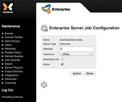 The AutoCleanServerJobs configuration page