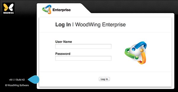 The version number in the Enterprise Server Log In screen