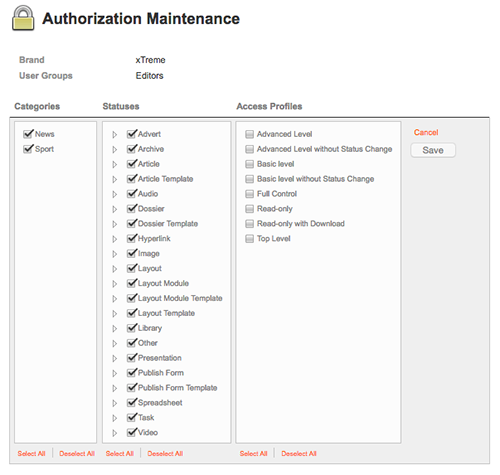 Authorization Maintenance page after clicking Add