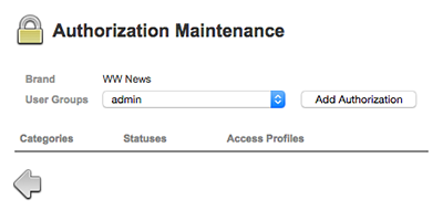 The Authorization Maintenance page