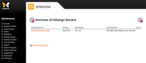 The Overview of InDesign Servers page