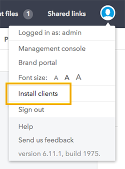 The Install Clients option in the menu
