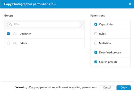 The Copy Permissions window