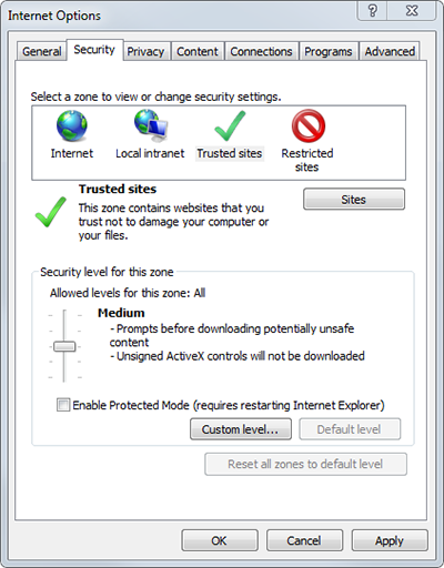 Internet Explorer 11 Security settings