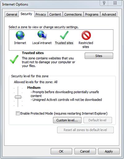 Internet Explorer 11 Security settings