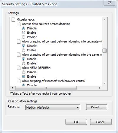 Internet Explorer 11 Trusted Sites zone settings