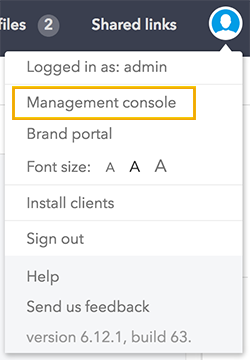 Management console in the Avatar menu