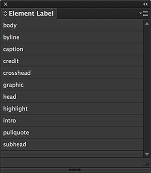 The Element Labels panel