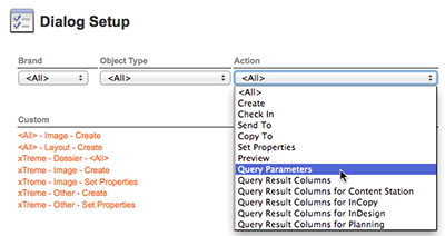 Choosing Query Parameters from the Action list