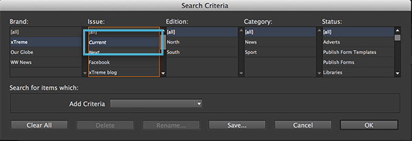 The Current Issue option in the Search Criteria dialog box