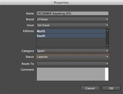 The Properties dialog box for a layout