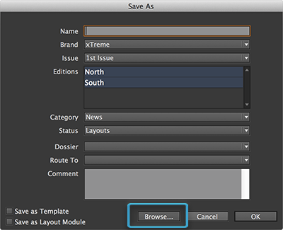 The Browse button in the Save As dialog box