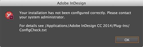 Installation not cofigured properly message
