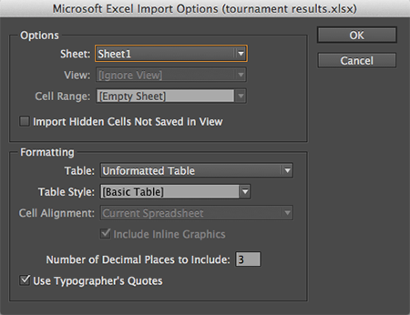 The import options for Ecel files