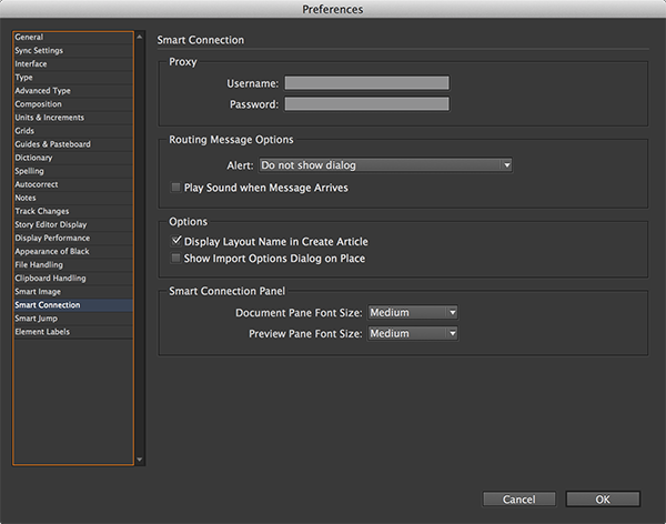 The Smart Connection preferences in InDesign