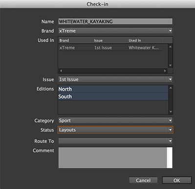 The Check In dialog for layouts