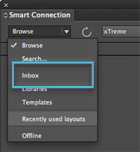 The Inbox option in the Search menu of the Smart Connection panel