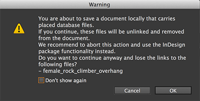 Warning when saving a file locally