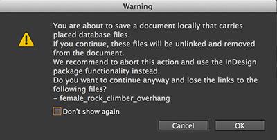 Warning when saving a file locally