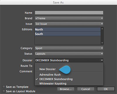 The Dossier list in the Save As dialog box of InDesign
