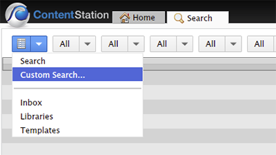 Choosing Custom Search in the Search menu