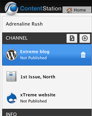 The WordPress Publication Channel selected in the Channel pane