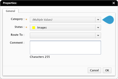 The Properties dialog box showing multiple values