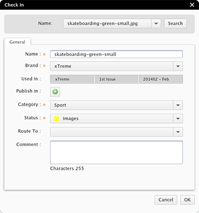 The Check In dialog box for an image