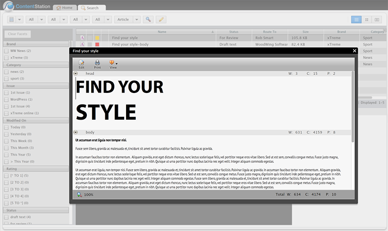 Previewing an article using the Quick Preview method