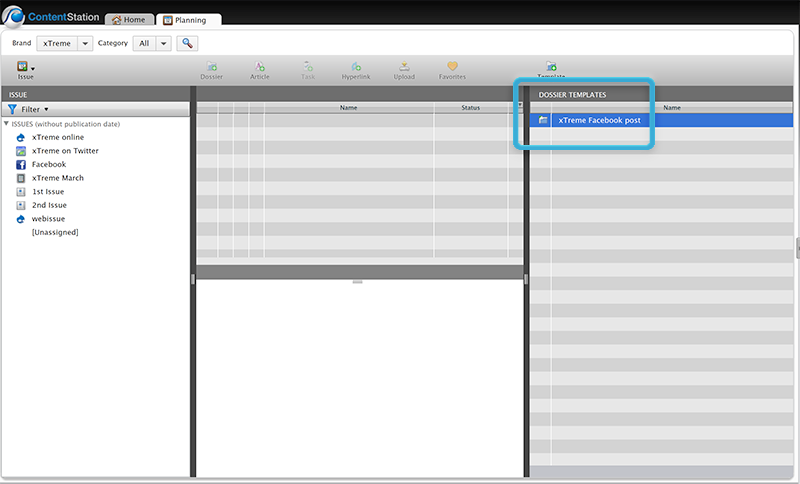 A Dossier Template added in the Plannings Application