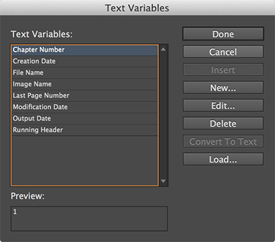 The Text Variables dialog box